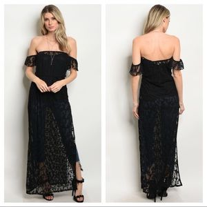 Black Off The Shoulder Long Lace Top Dress S M L